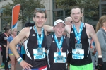From left to right: Ryan Moore, Alex Schachtel, and Brian Brietsch after qualifying for the Boston Marathon.