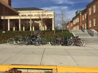 Bike racks in front of Armstrong Student Center.